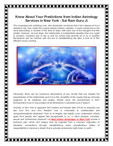 Know About Your Predictions from Indian Astrology Services in New York - Sai Ram Guru Ji | edocr