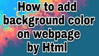 How to add background color of a webpage in Html #Html #Education #Read4bca #Bca
