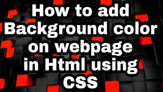 How to add background color of a webpage in Html using CSS #Html #Education #Read4bca #Bca