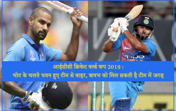 ICC Cricket World Cup 2019: Dhawan out for 3 weeks due to injury pant could be the replacement