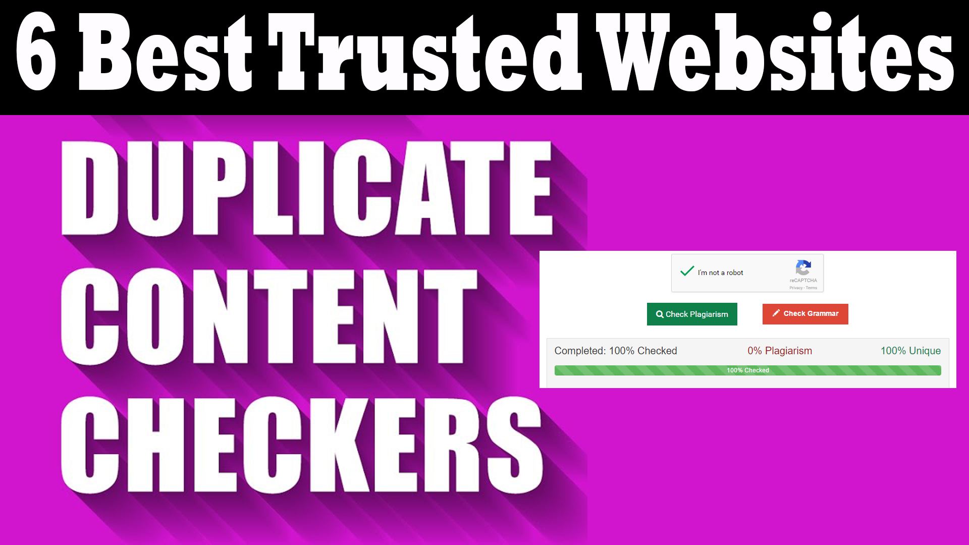 DUPLICATE CONTENT CHECKER WEBSITE - 6 BEST TRUSTED SITES