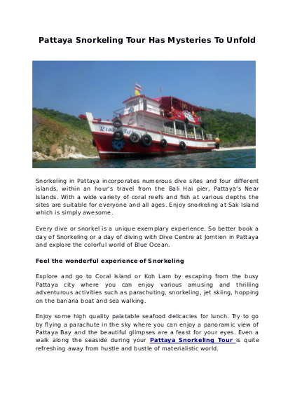 Pattaya Snorkeling Tour Has Mysteries To Unfold   edocr