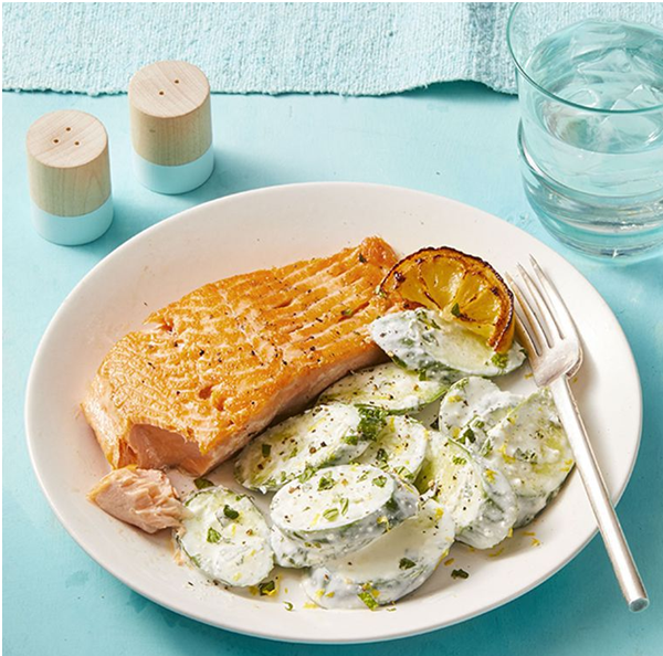 Serve Your Guests Salmon with Creamy Feta Cucumbers — A Yummy Delight Bakery