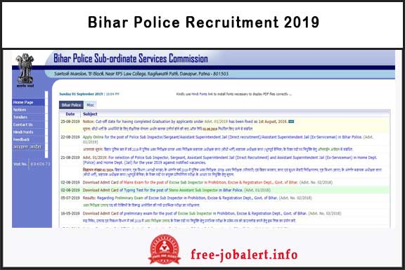 Bihar Police Recruitment 2019: Apply online for 2446 Sub Inspector FreeJobAlert
