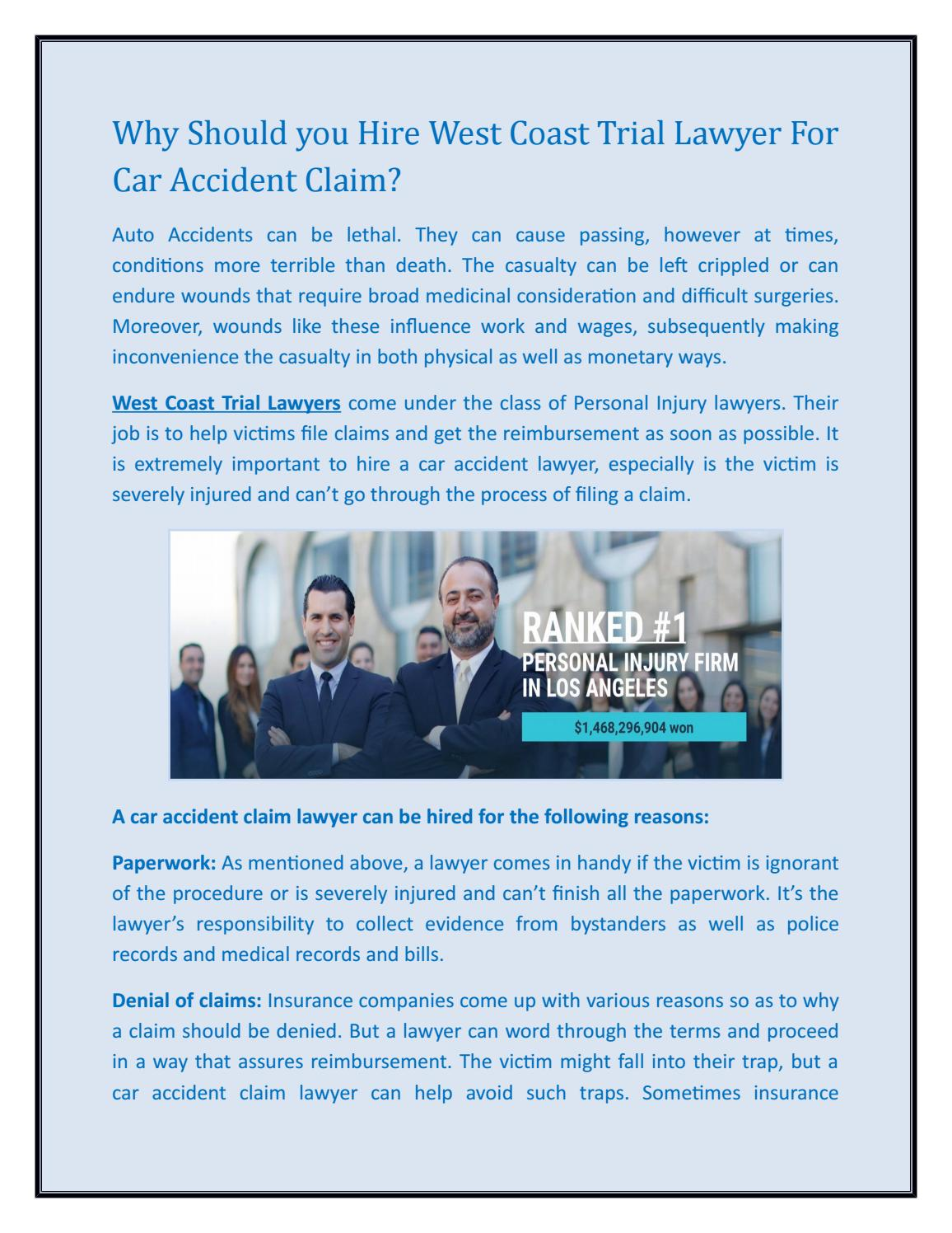 Why Should you Hire West Coast Trial Lawyer For Car Accident Claim?