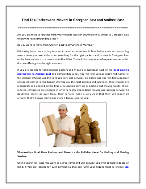 Find Top Packers and Movers in Goregaon East and Andheri East | edocr