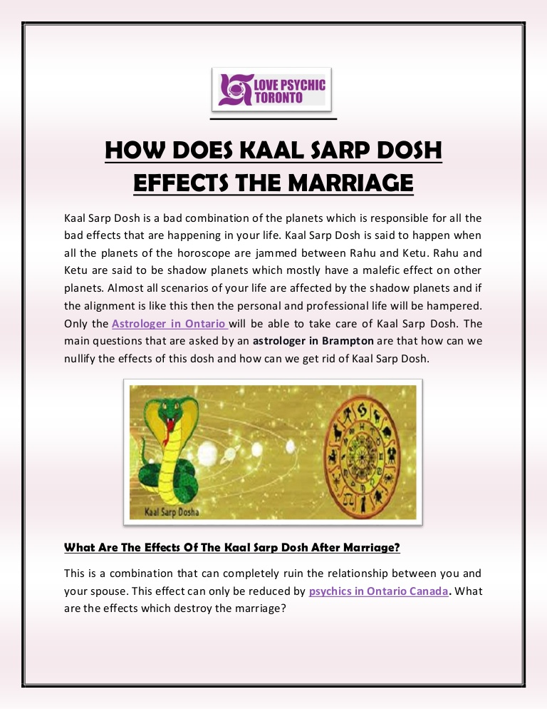 How does kaal Sarp dosh Effects the Marriage