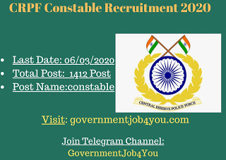 CRPF Constable Recruitment 2020 : Apply Now - Governmentjob4You