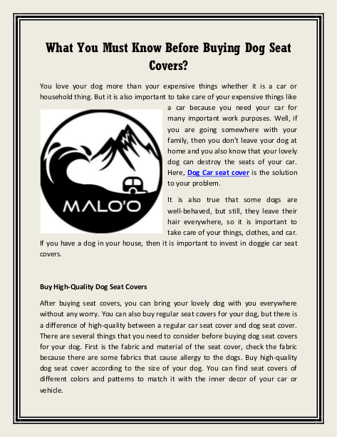 What You Must Know Before Buying Dog Seat Covers? | edocr