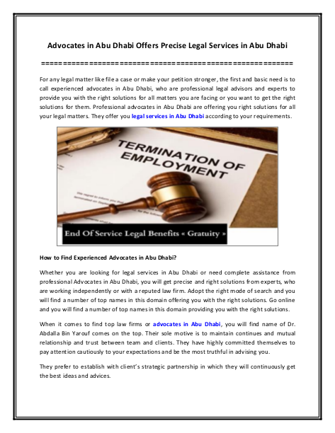 Advocates in Abu Dhabi Offers Precise Legal Services in Abu Dhabi | edocr