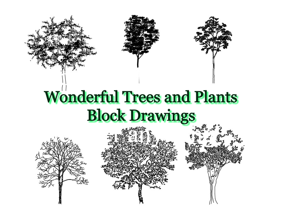 Wonderful Trees and Plants Block Drawings | Civilengi
