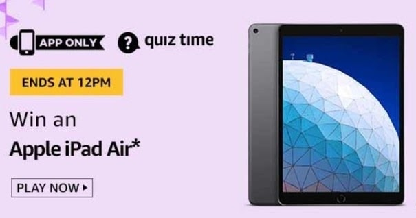 Amazon Quiz Answers Today 22 May Win Apple IPad Air - HuntGuru | Top Online Deals | Amazon quiz