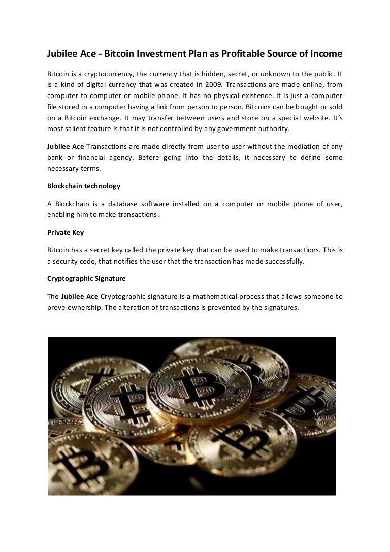 Jubilee ace -  bitcoin investment plan as profitable source of income