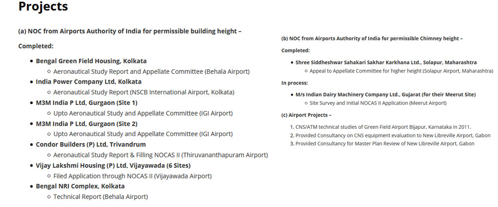 Projects of NOC from AAI - Sakthi Aviation Consultancy Services