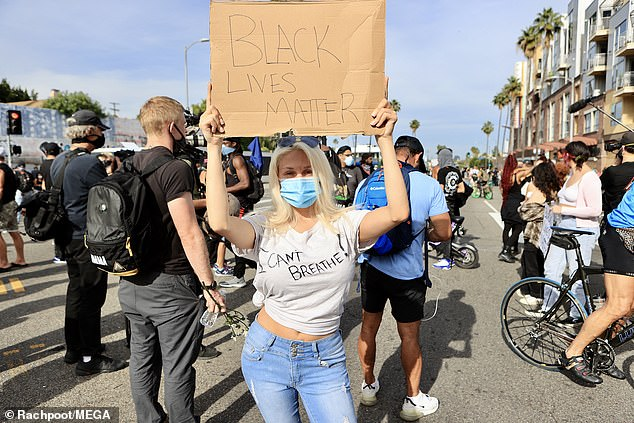 Courtney Stodden joined a protest in West Hollywood over the death of Black Lives Matter George Floyd.
