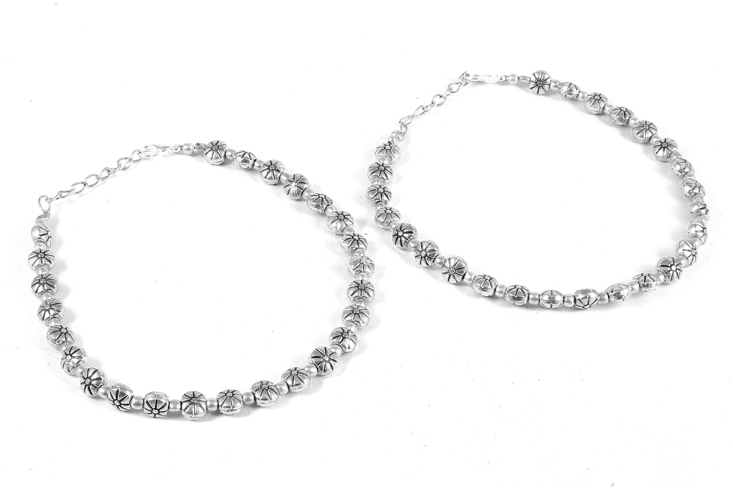 Floral Design Silver Plated Anklet | Foxiie Trends