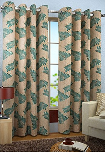 Home FURNISHINGS Polyester Candy Curtains (Set Of 1,Aqua,5 Feet)