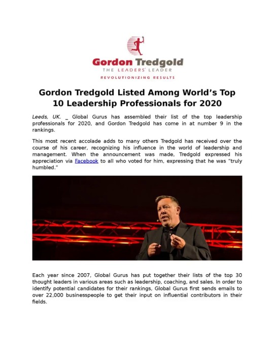 Mary Orwells — Gordon Tredgold Listed Among World's Top 10...
