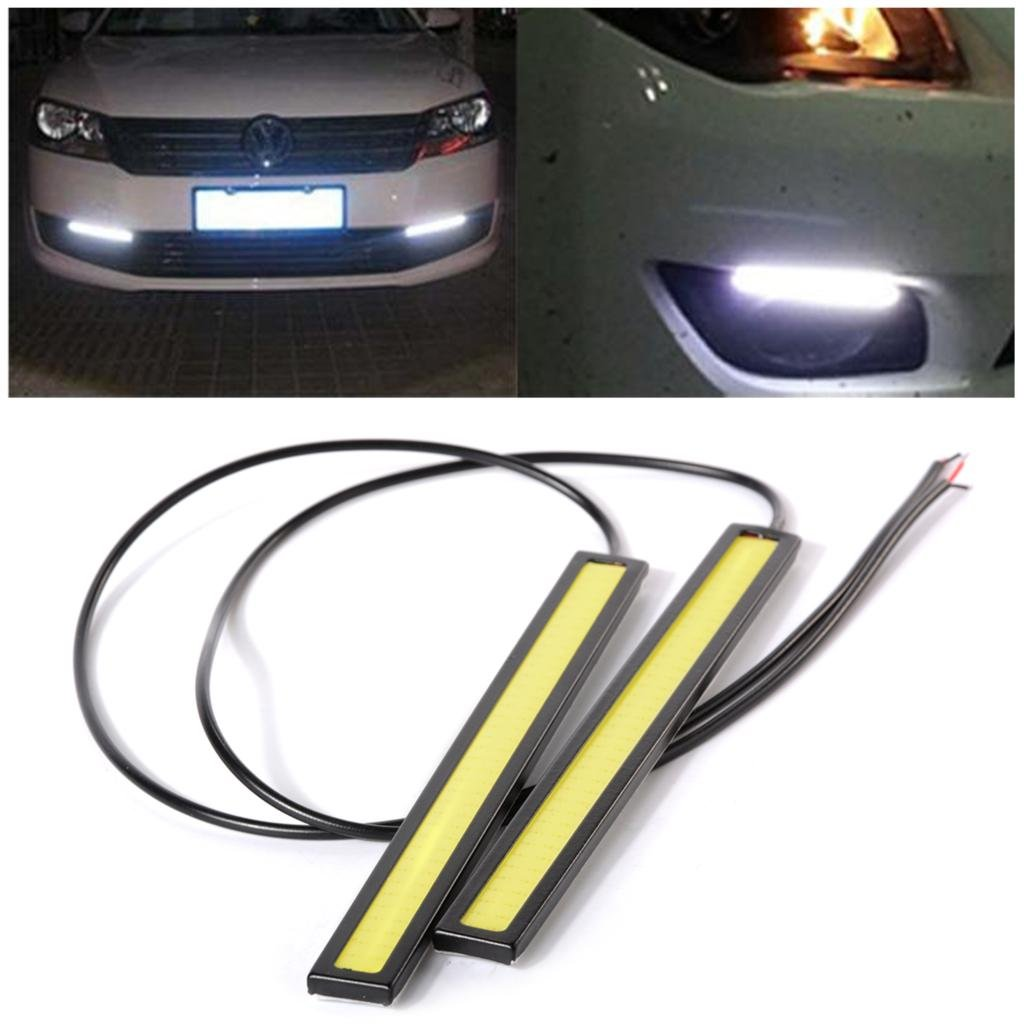 Carzex Waterproof White Cob LED 17cm Fog DRL Daytime Running Light For Universal Car And Motorcycle (Set of 2) - Carzex