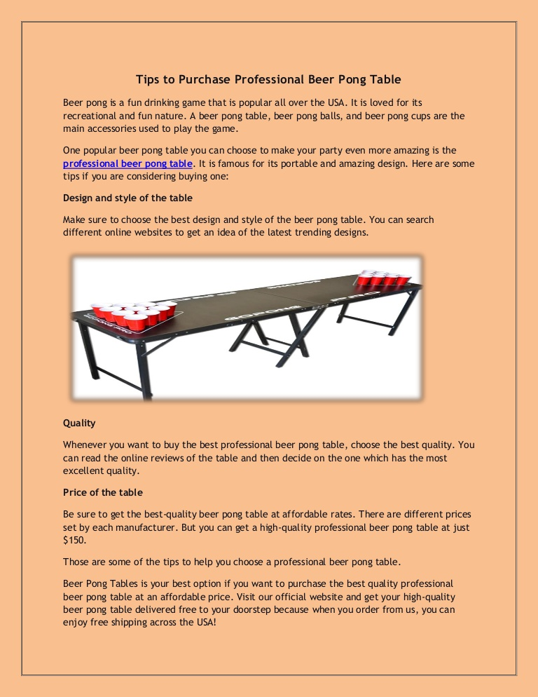 Tips to Purchase Professional Beer Pong Table