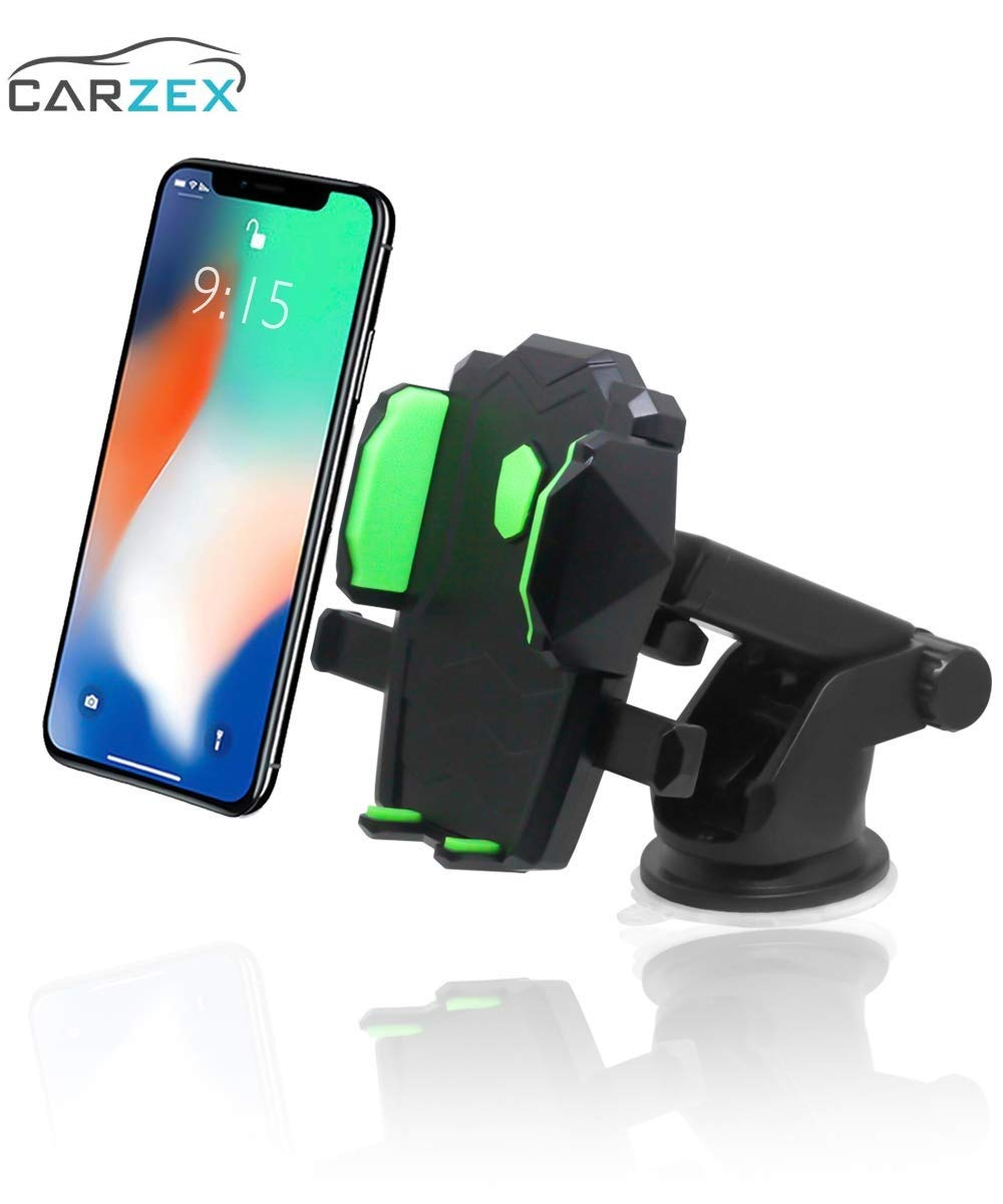 Carzex Universal Black & Green Car Mobile Phone Holder - Telescopic Long Neck Arm 360 Degree Rotation with Ultimate Reusable Suction Cup Mount for Car Dashboard/Windshield - Carzex