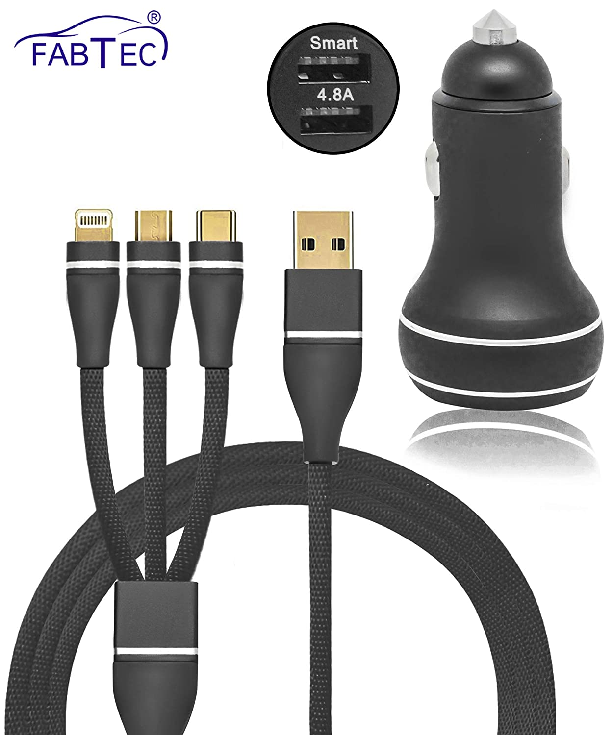 Carzex 4.8A Dual Port Smart & Rapid Charging Car Mobile/iPad/Tablet Charger with 3 in 1 USB Nylon Braided USB Charging Cable for Samsung, iPhone & Type C Android Phones - Carzex
