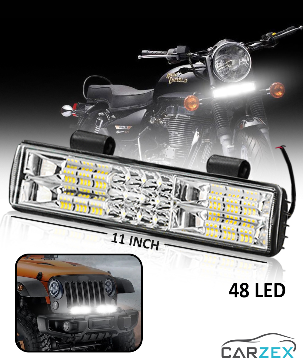 Carzex 48 LED 11 INCH Waterproof Bar Light Focus + Flood Night Highway Driving Bar Light For Car, Scooty & Bikes (48W/48LED/11INCH) - Carzex