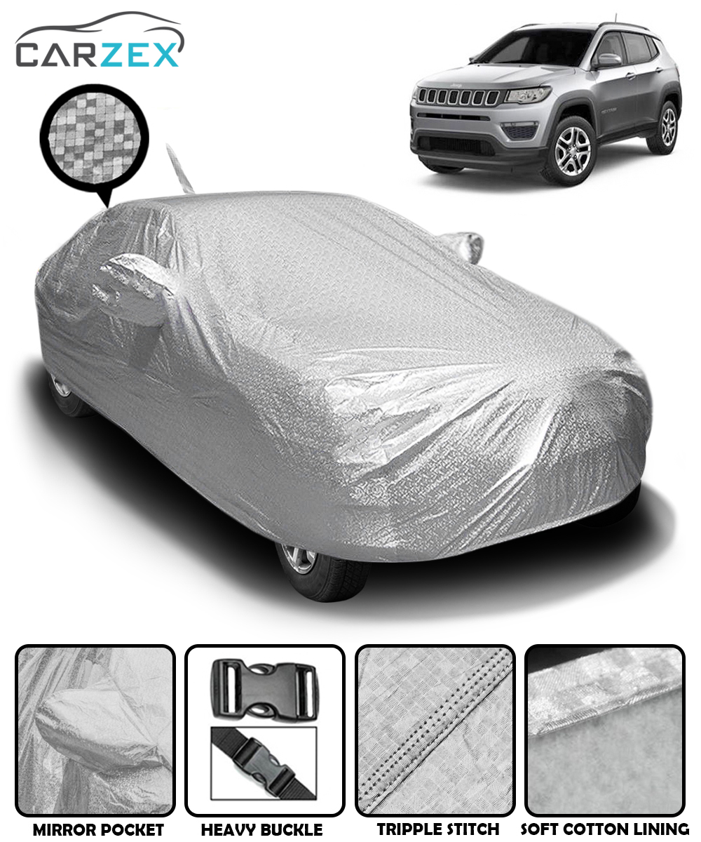 Carzex Waterproof & Heat Resistant Metallic Silver Car Body Cover with Soft Cotton Lining & Mirror Pockets - Jeep Compass - Carzex