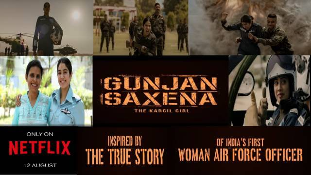 GUNJAN SAXENA: The Kargil Girl Janhvi Kapoor Netflix Trailer release date story and star cast