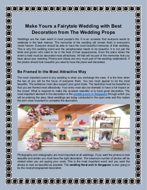 Make Yours a Fairytale Wedding with Best Decoration from The Wedding Props | edocr