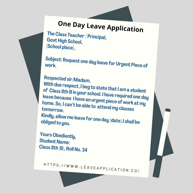 Leave Application For School   How To Write One Day Leave Application