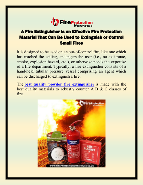 A Fire Extinguisher Is an Effective Fire Protection Material That Can Be Used to Extinguish or Control Small Fires (1) | edocr