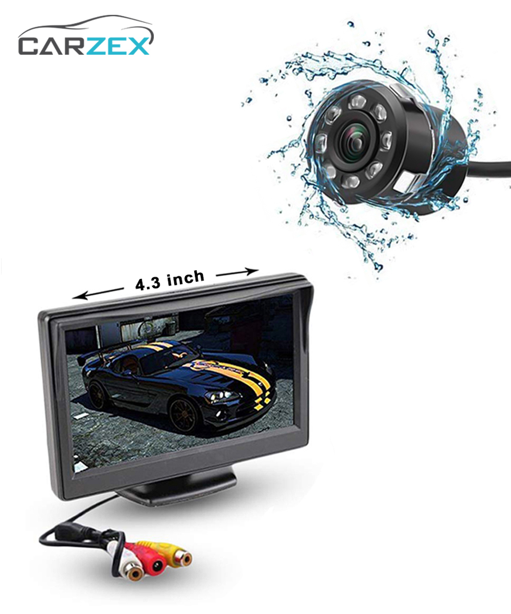 "Carzex 4.3"" Car Dashboard Rear View Reverse Parking Screen with 8 LED Night Vision Reverse Parking Camera - Carzex"