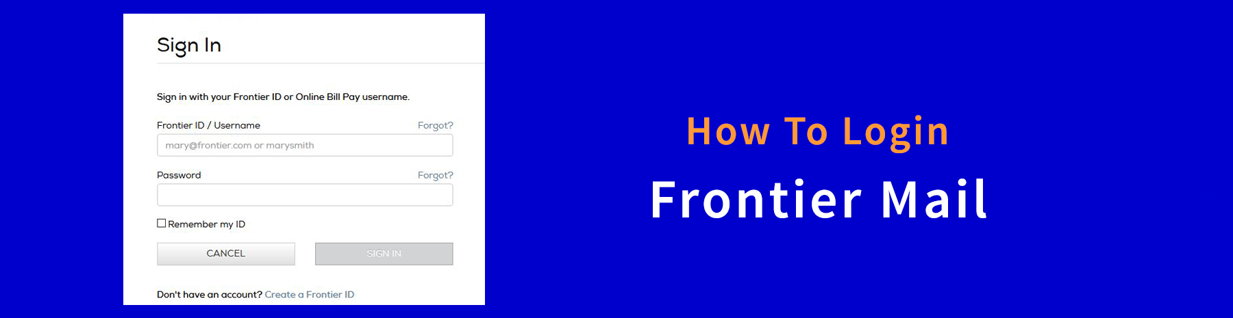How to sign up and log in for the Frontier account?