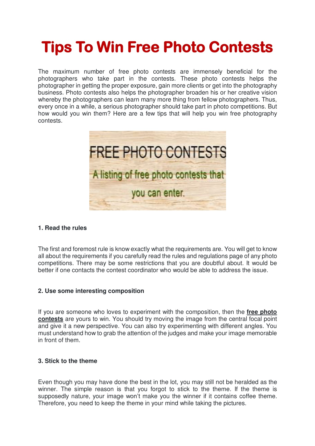 PPT - Tips To Win Free Photo Contests PowerPoint Presentation, free download - ID:10094286