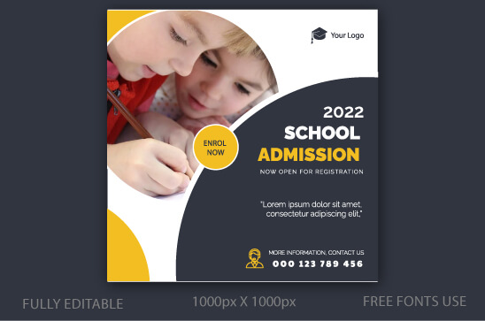 School Admission Social Media Post Template Free EPS - XcreativeDesign