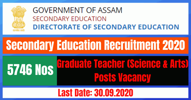Secondary Education Recruitment 2020: Apply Online For 5746 Graduate Teacher (Science & Arts) Posts Vacancy