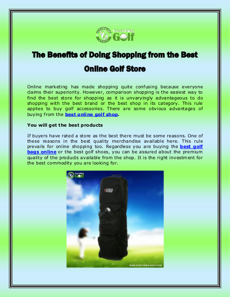 The Benefits of Doing Shopping from the Best Online Golf Store | edocr
