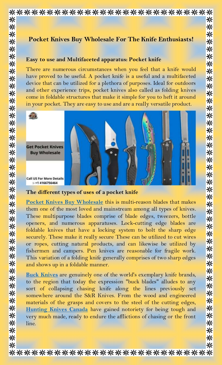 Pocket Knives Buy Wholesale For The Knife Enthusiasts!