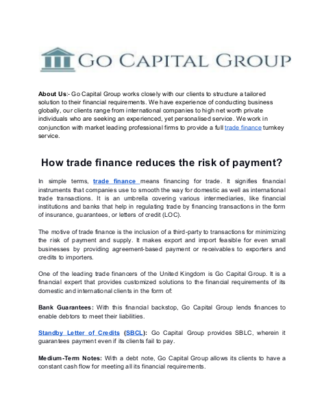 How trade finance reduces the risk of payment | edocr