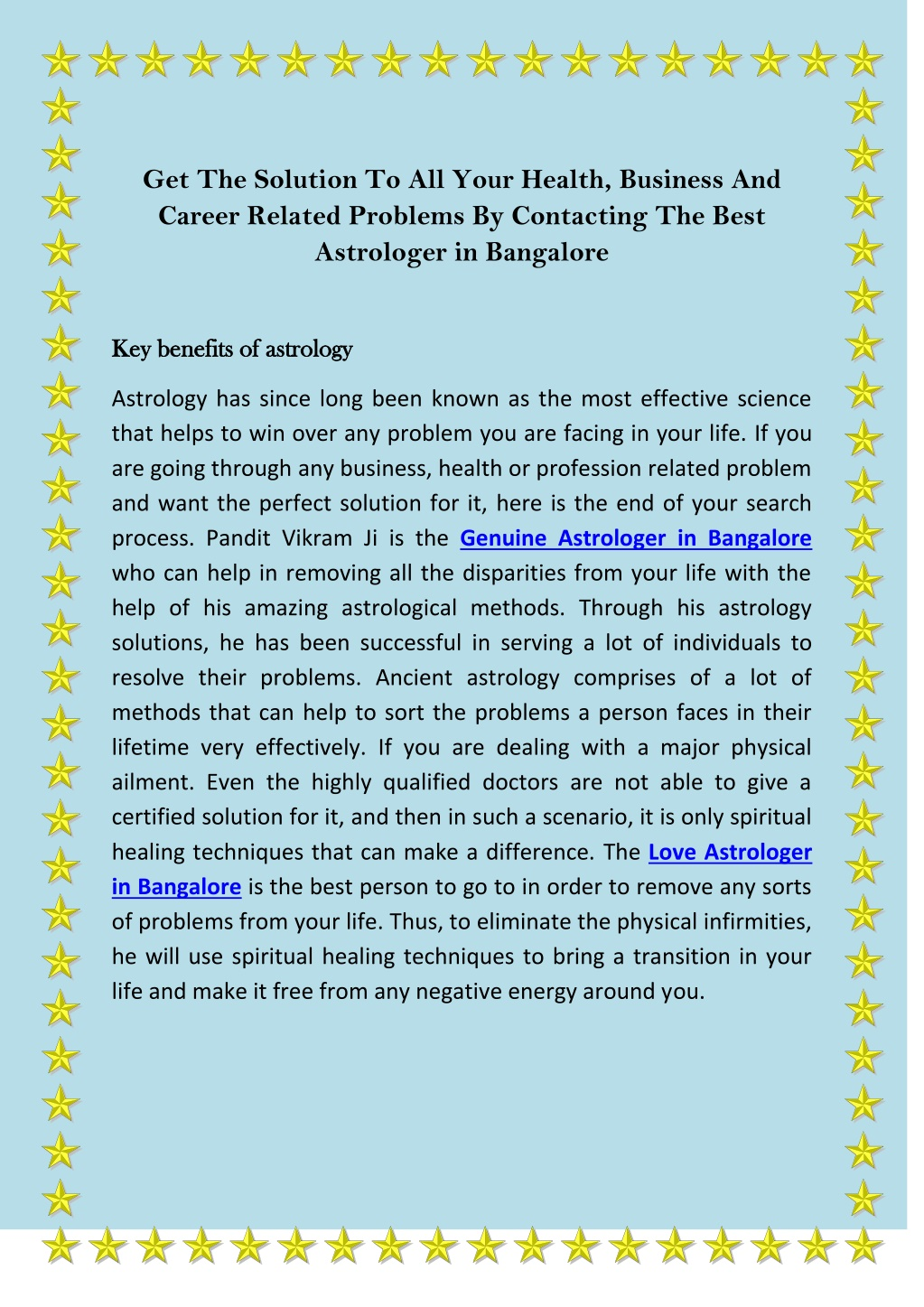 PPT - Get The Solution To All Your Health, Business And Career Related Problems By Contacting The Best Astrologer in Bangalore PowerPoint Presentation - ID:10118038