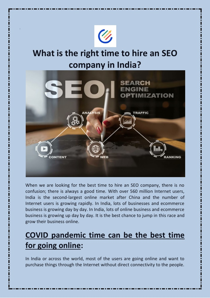 PPT - What is the right time to hire an SEO company in India? PowerPoint Presentation - ID:10172277