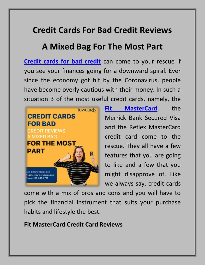 PPT - Credit Cards For Bad Credit Reviews A Mixed Bag For The Most Part PowerPoint Presentation - ID:10199538