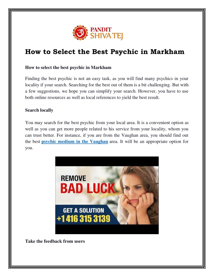 PPT - How to Select the Best Psychic in Markham PowerPoint Presentation - ID:10206244