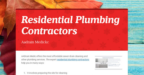 Residential Plumbing Contractors | Smore Newsletters