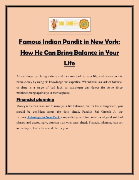 Famous Indian Pandit in New York How He Can Bring Balance in Your Life   edocr