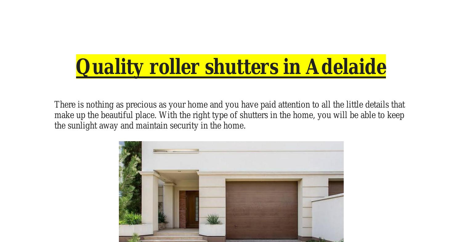 Quality roller shutters in Adelaide.pdf | DocDroid