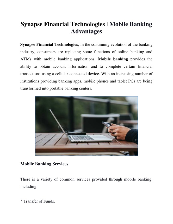PPT - Synapse Financial Technologies - Key Benefits Of Mobile Banking 2021 PowerPoint Presentation - ID:10388809