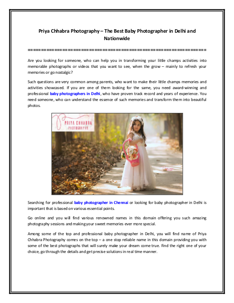Priya Chhabra Photography – The Best Baby Photographer in Delhi and Nationwide | edocr