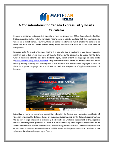 6 considerations for canada express entry points calculator   edocr